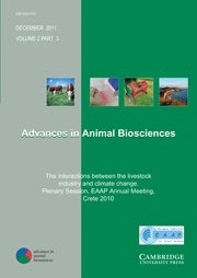 Advances in Animal Biosciences Volume 2 - Issue 3 -  The interactions between the livestock industry and climate change. Plenary Session, EAAP Annual Meeting, Crete 2010