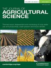 The Journal of Agricultural Science Volume 156 - Themed Issue5 -  Themed Issue: Assessment and monitoring of crop water use and productivity under present and future climate