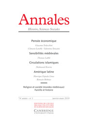 Annales. Histoire, Sciences Sociales Volume 74 - Issue 1 -