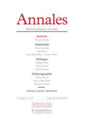 Annales. Histoire, Sciences Sociales Volume 74 - Issue 3-4 -  Archives