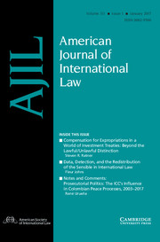 American Journal of International Law Volume 111 - Issue 1 -