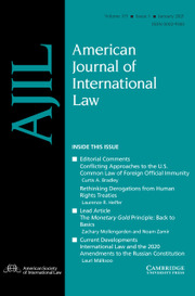 American Journal of International Law Volume 115 - Issue 1 -