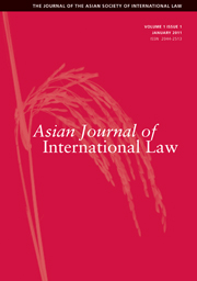 Asian Journal of International Law Volume 1 - Issue 1 -