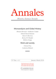 Annales. Histoire, Sciences Sociales - English Edition Volume 73 - Issue 1 -