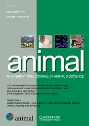 animal Volume 12 - Supplements2 -  10th International Symposium on the Nutrition of Herbivores: Herbivore nutrition supporting sustainable intensification and agro-ecological approaches 2–6th September 2018, Clermont-Ferrand, France
