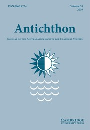 Antichthon Volume 53 - Issue  -