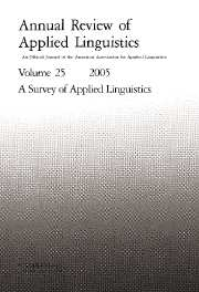 Annual Review of Applied Linguistics Volume 25 - Issue  -