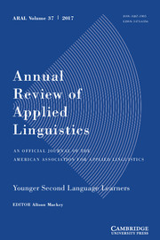 Annual Review of Applied Linguistics Volume 37 - Issue  -