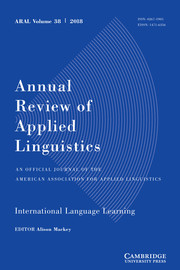 Annual Review of Applied Linguistics Volume 38 - Issue  -