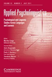 Applied Psycholinguistics Volume 32 - Issue 3 -