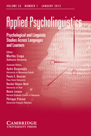 Applied Psycholinguistics Volume 33 - Issue 1 -