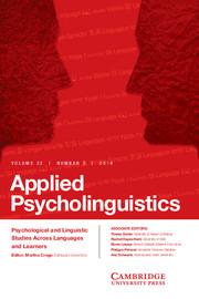 Applied Psycholinguistics Volume 35 - Issue 3 -