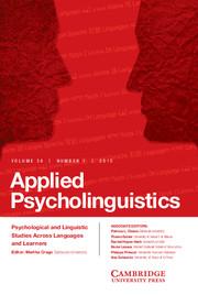 Applied Psycholinguistics Volume 36 - Issue 1 -