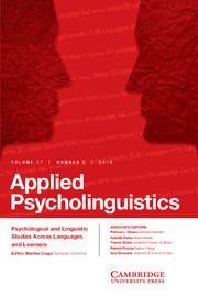 Applied Psycholinguistics Volume 37 - Issue 3 -