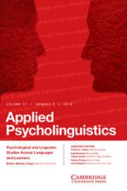 Applied Psycholinguistics Volume 37 - Issue 5 -