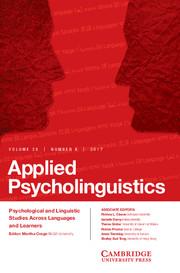 Applied Psycholinguistics Volume 38 - Issue 4 -