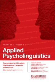 Applied Psycholinguistics Volume 38 - Issue 6 -