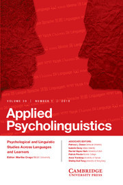 Applied Psycholinguistics Volume 39 - Issue 1 -