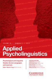 Applied Psycholinguistics Volume 39 - Issue 3 -
