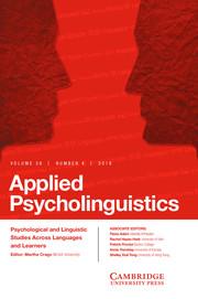 Applied Psycholinguistics Volume 39 - Issue 4 -