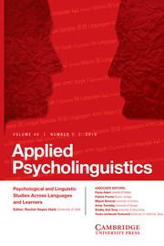 Applied Psycholinguistics Volume 40 - Issue 1 -