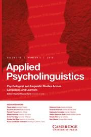 Applied Psycholinguistics Volume 40 - Issue 5 -