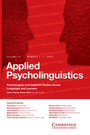 Applied Psycholinguistics Volume 41 - Issue 1 -