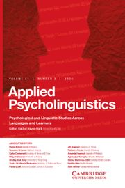 Applied Psycholinguistics Volume 41 - Issue 3 -