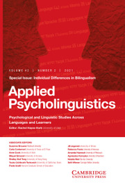 Applied Psycholinguistics Volume 42 - Special Issue2 -  Special Issue: Individual Differences in Bilingualism