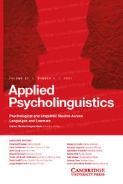 Applied Psycholinguistics Volume 42 - Issue 5 -