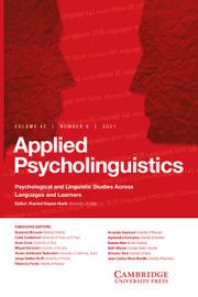 Applied Psycholinguistics Volume 42 - Issue 6 -