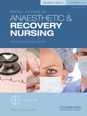 British Journal of Anaesthetic & Recovery Nursing Volume 11 - Issue 4 -