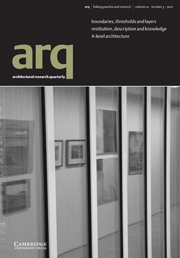 arq: Architectural Research Quarterly Volume 14 - Issue 3 -