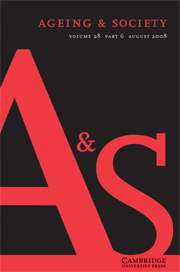 Ageing & Society Volume 28 - Issue 6 -