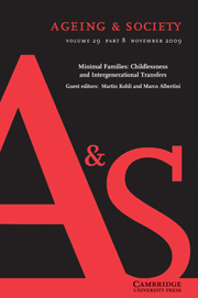 Ageing & Society Volume 29 - Issue 8 -  Minimal Families: Childlessness and Intergenerational Transfers
