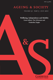 Ageing & Society Volume 31 - Issue 5 -  Wellbeing, Independence and Mobility