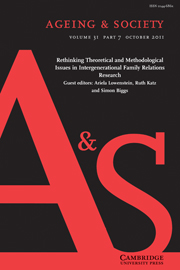Ageing & Society Volume 31 - Issue 7 -  Rethinking Theoretical and Methodological Issues in Intergenerational Family Relations Research