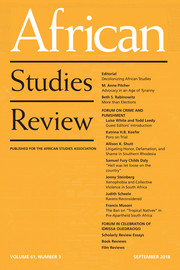 African Studies Review Volume 61 - Issue 3 -