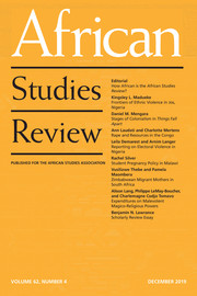 African Studies Review Volume 62 - Issue 4 -