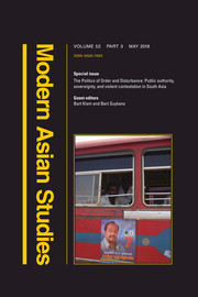 Modern Asian Studies Volume 52 - Special Issue3 -  The Politics of Order and Disturbance: Public authority, sovereignty, and violent contestation in South Asia