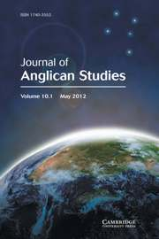 Journal of Anglican Studies Volume 10 - Issue 1 -