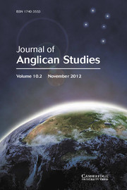 Journal of Anglican Studies Volume 10 - Issue 2 -