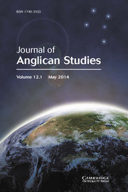 Journal of Anglican Studies Volume 12 - Issue 1 -