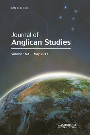Journal of Anglican Studies Volume 15 - Issue 1 -