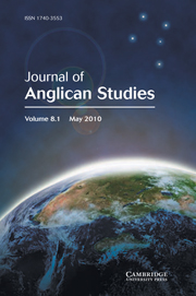Journal of Anglican Studies Volume 8 - Issue 1 -