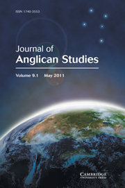 Journal of Anglican Studies Volume 9 - Issue 1 -