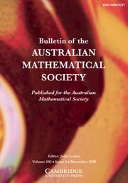 Bulletin of the Australian Mathematical Society Volume 102 - Issue 3 -