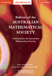 Bulletin of the Australian Mathematical Society Volume 80 - Issue 3 -
