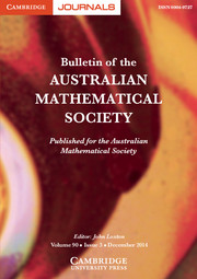 Bulletin of the Australian Mathematical Society Volume 90 - Issue 3 -