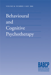 Behavioural and Cognitive Psychotherapy Volume 36 - Issue 3 -